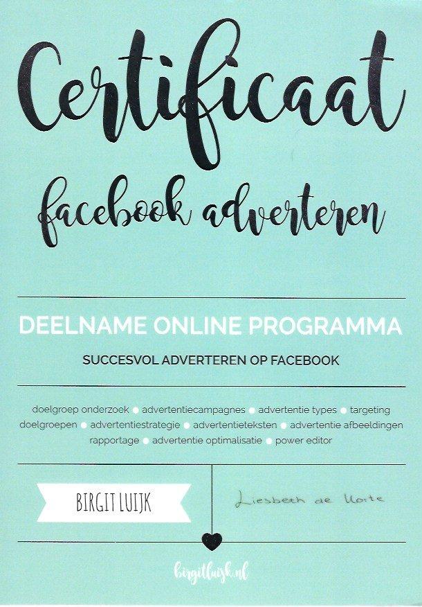 Certificaat Succesvol Adverteren Op Facebook